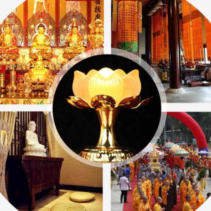 Chân nến, cốc đựng nến thờ hoa sen lưu ly vật phẩm quan trọng trên bàn thờ