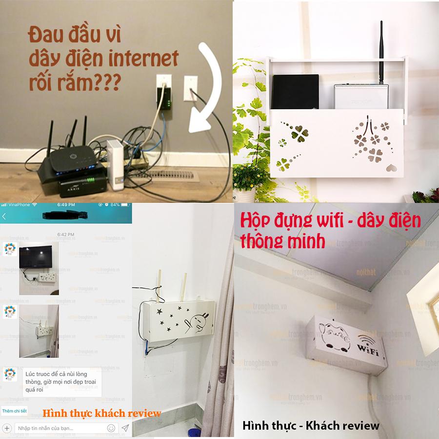 Kệ wifi mini Thanh lịch treo tường không khoan tặng kèm móc treo cường lực