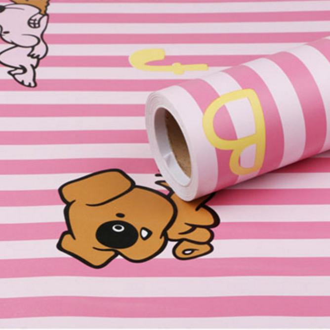 Cuộn 5m Decal Giấy Dán Tường Chó snoopy sọc hồng  (5m dài x 0.45m rộng)