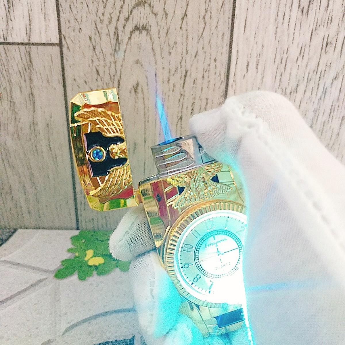 Combo Hộp Quẹt Bật Lửa Gas Khò Kiêm Đồng Hồ Đèn Led Hình Đại Bàng In Nổi + Tặng Tai Nghe Bluetooth BT01 Kiểu Dáng Thể Thao