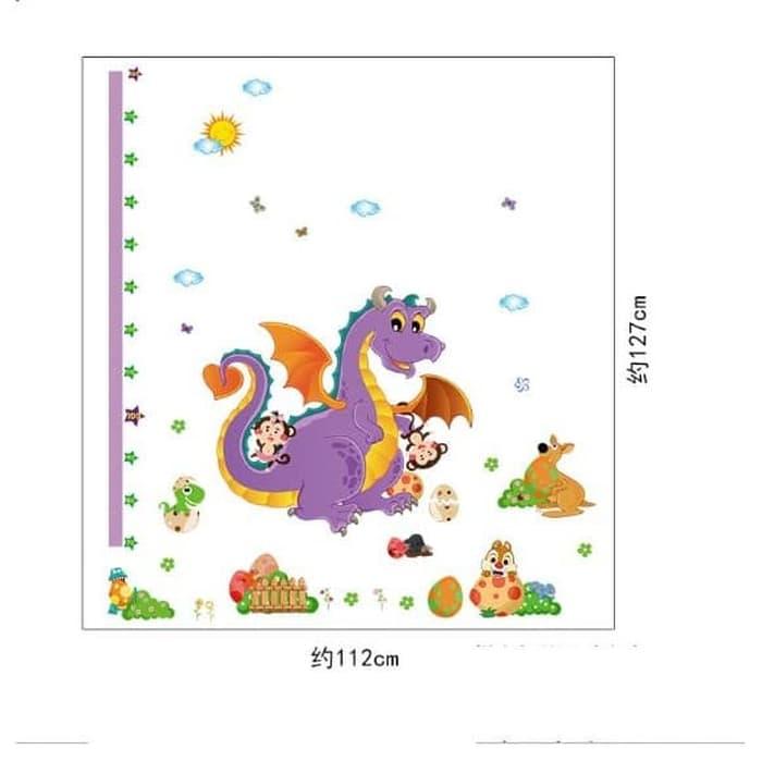 Decal dán tường thước đo khủng long tím - HP369
