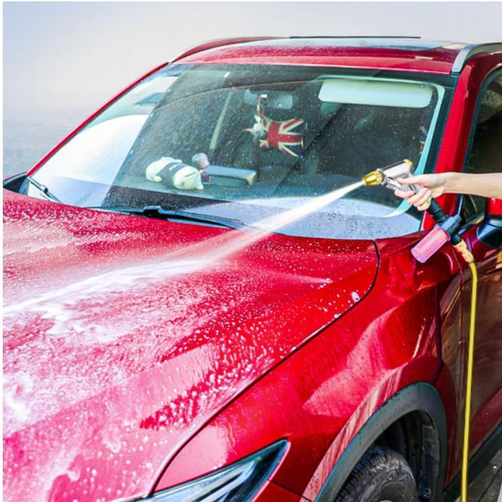 Bộ dây vòi xịt nước rửa xe, tưới cây . tăng áp 3 lần, loại 20m 206236 đầu đồng,đai +tặng mở chai