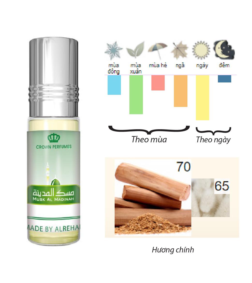 UNISEX - Tinh dầu nước hoa MUSK AL MADINAH al-rehab (hàng chính hãng )
