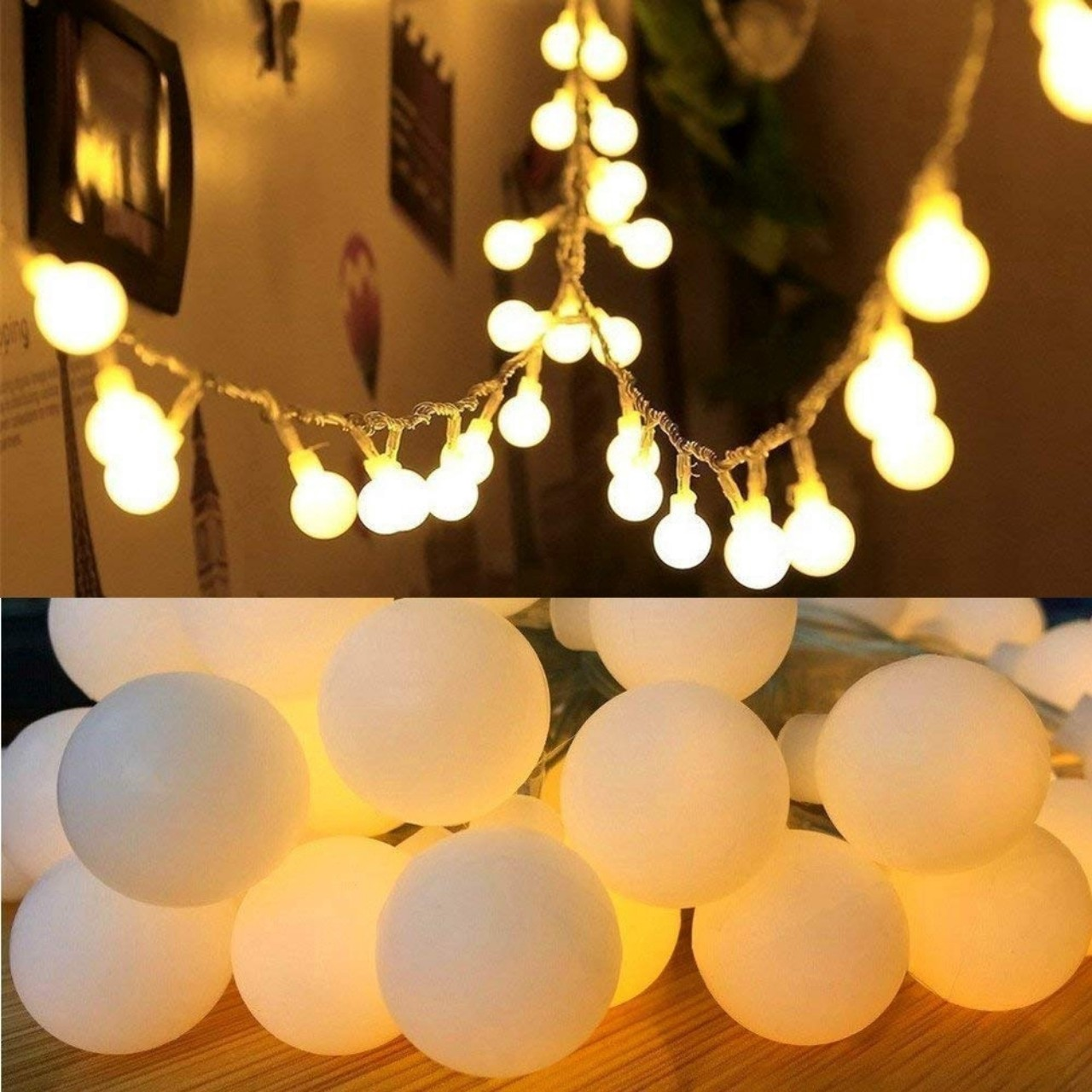 Dây đèn led chipsling ball trang trí nhà cửa, noel, lễ hội bóng tròn nhỏ 2cm sử dụng pin tiểu AA (tặng kèm pin)