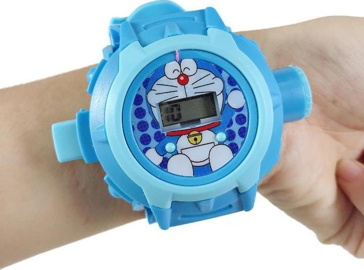 Đồng hồ chiếu 20 hình mèo doremon cho bé