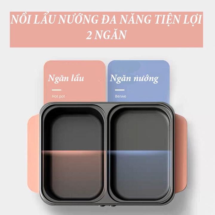 Bếp điện 2 ngăn lẩu nướng 2 in 1 tiện dụng - NLN