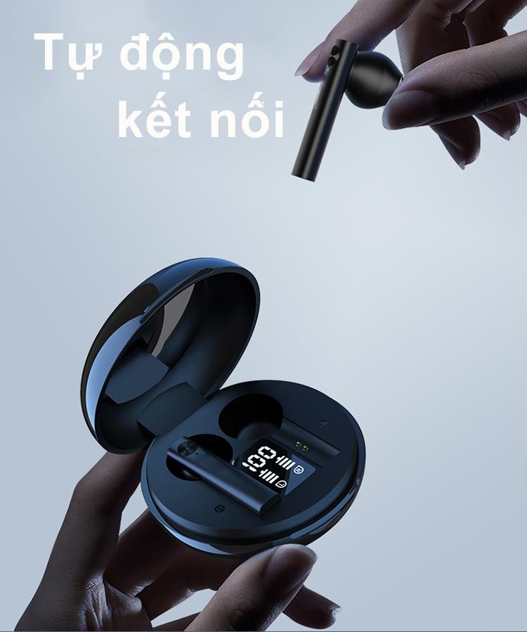 Tai Nghe Bluetooth Nhét Tai Thiết kế sáng tạo thời trang tai nghe không dây mini có hộp sạc cảm ứng vân tay màn hình led - Hàng Chính Hãng PKCB
