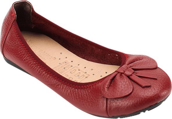 Giày Nữ Búp Bê Da Bò Huy Hoàng HT7909 - Đỏ Đô