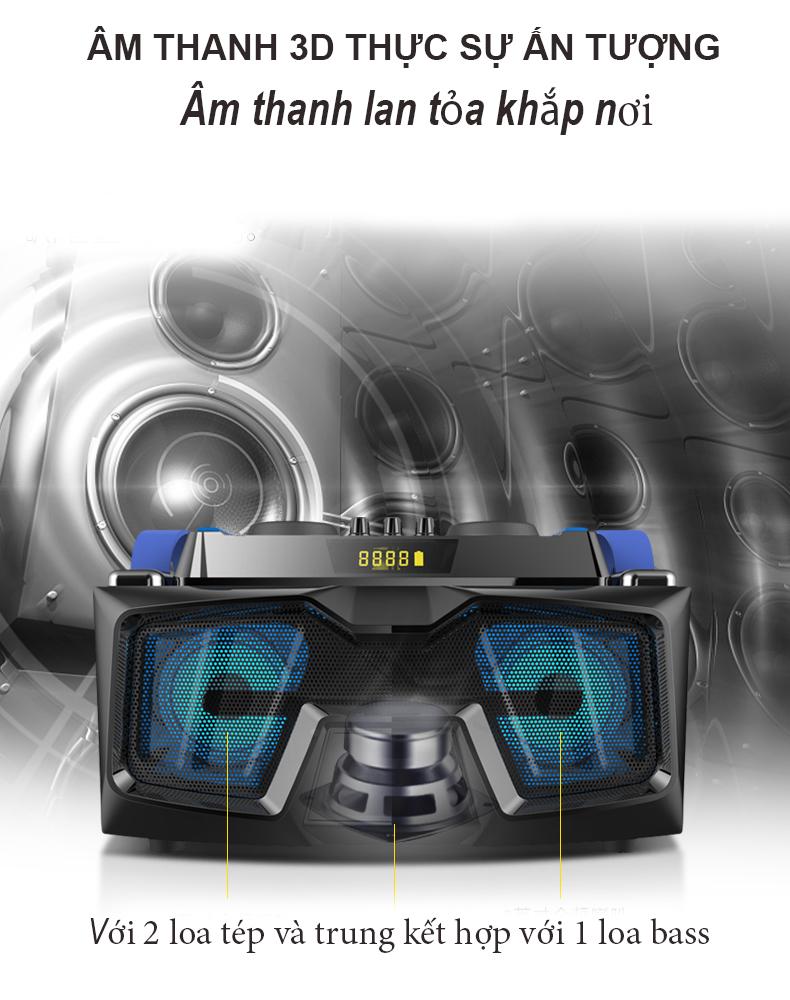 Bộ loa hát karaoke gồm 2 micro UHF dùng cho tivi smart và điện thoại A22 DM2KM  ( Hàng nhập khẩu )