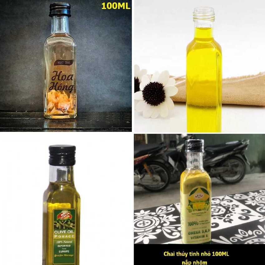 Chai Thủy Tinh 100ML (combo 15 chai) mẫu Vuông Cao nắp nhôm đen – Vỏ Chai Rươu Mini, đựng mật ong, dầu dừa, nước mắm, thức uống, sữa, các loại thực phẩm