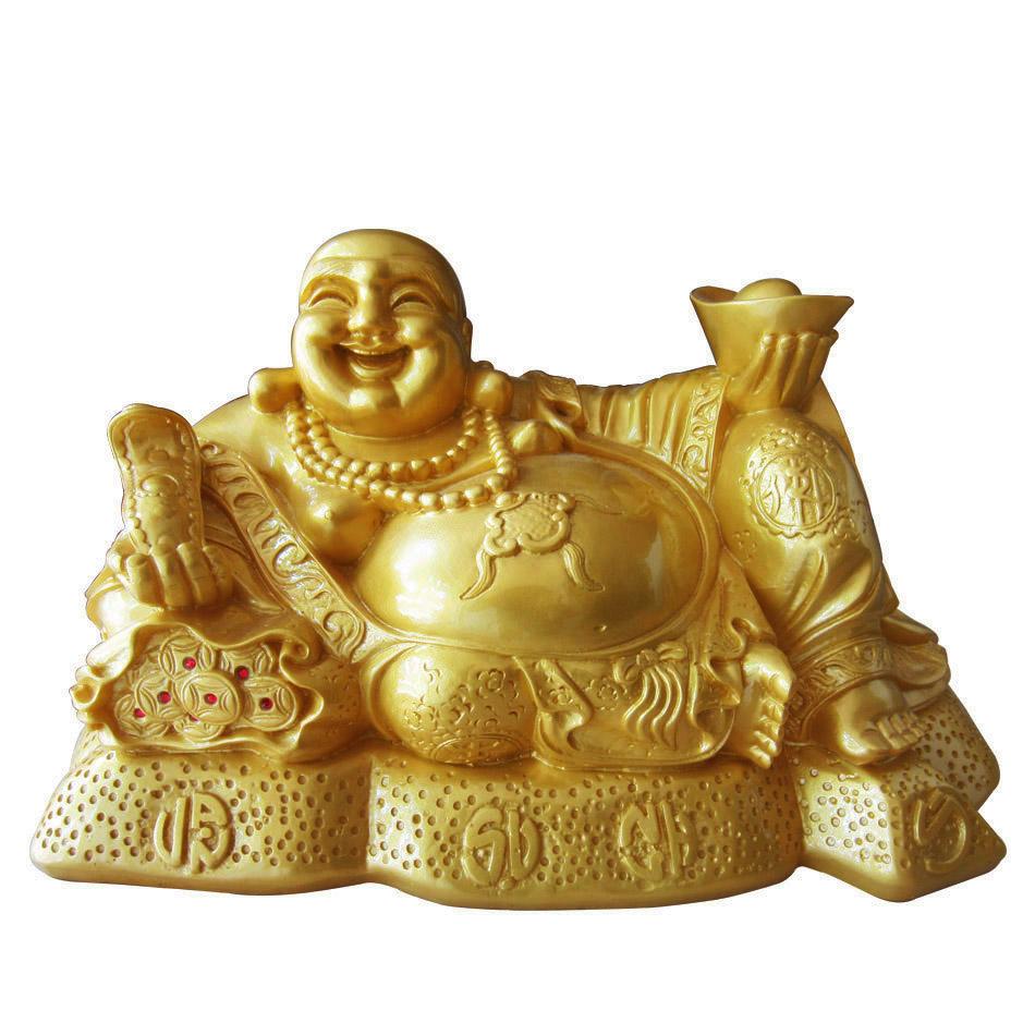 Tượng phật di lặc ngồi cầm vàng như ý đá poly vàng óng DLV42