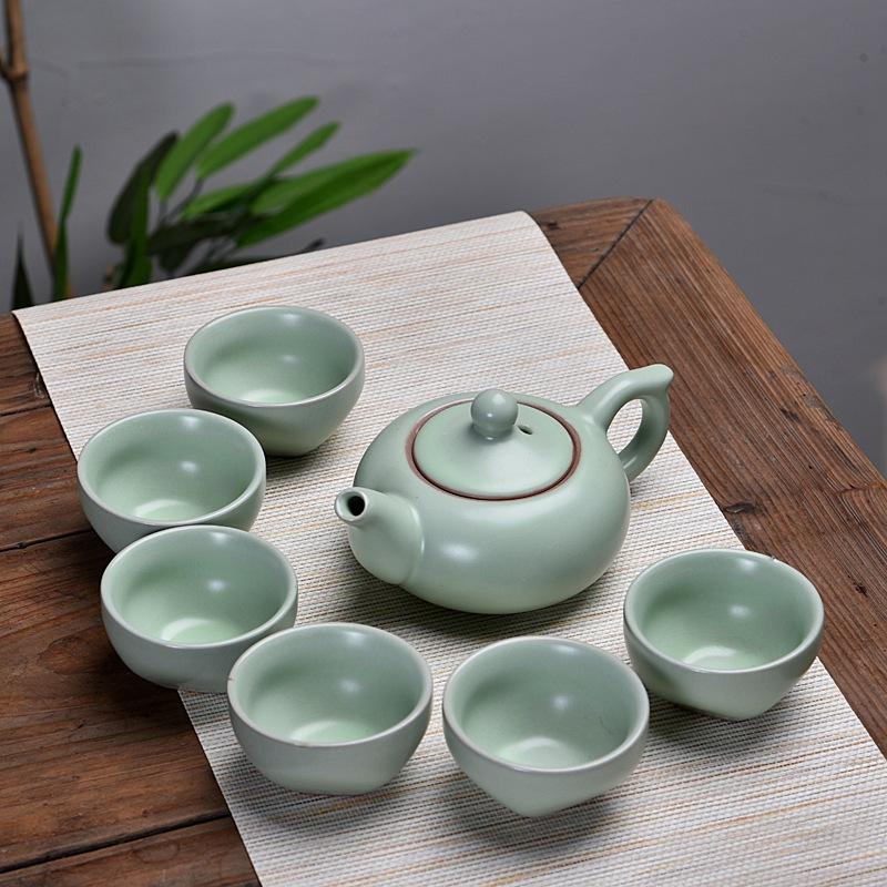 Bộ ấm tách trà gốm sứ tráng men lì basic cốc sáng tạo 7 món