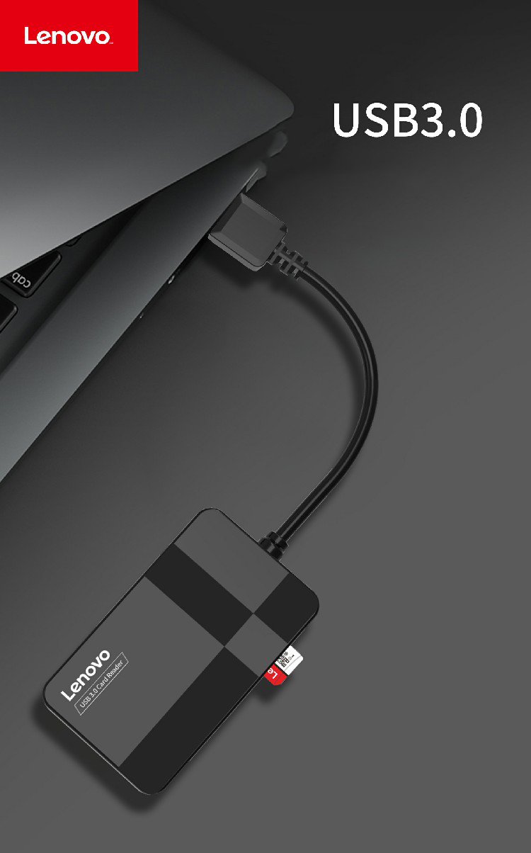 Đầu Đọc Thẻ Nhớ USB 3.0 Lenovo D302 4 trong 1 (TF, SD, CF, MS) - Hàng Nhập Khẩu