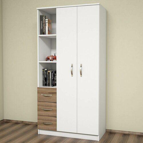 Tủ gỗ phòng ngủ 2 cánh, 1 kệ, 3 ngăn với tone màu trắng sáng