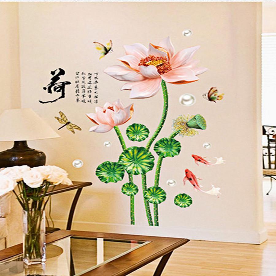 Decal dán tường trang trí phòng khách-Sen hồng-mã sp SK9274