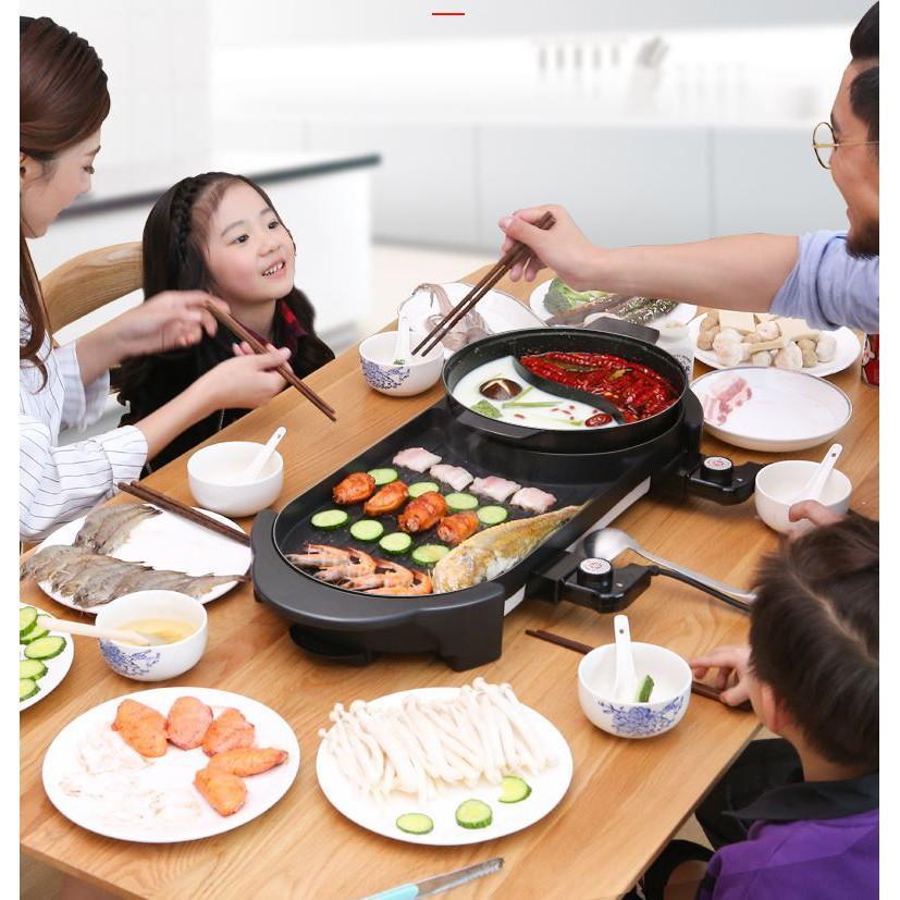 Bếp Nướng Lẩu 2 Ngăn  ĐA NĂNG tiện lợi - Nồi lẩu nướng điện 2 trong 1 tiết kiệm điện năng
