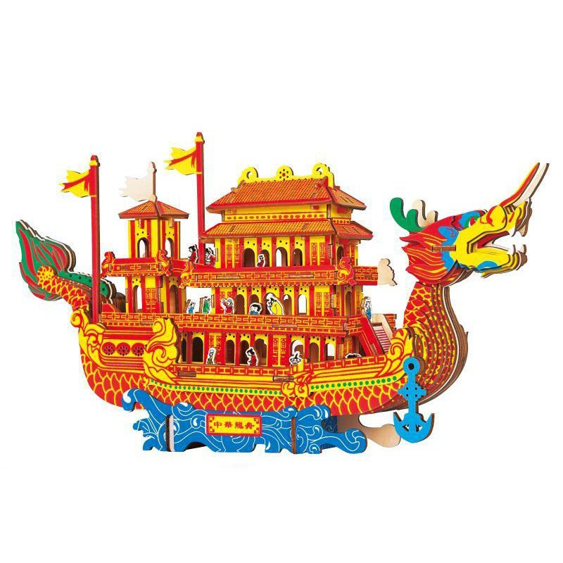 Đồ chơi lắp ráp gỗ 3D Mô hình Thuyền Rồng Dragon Boat HG-A014