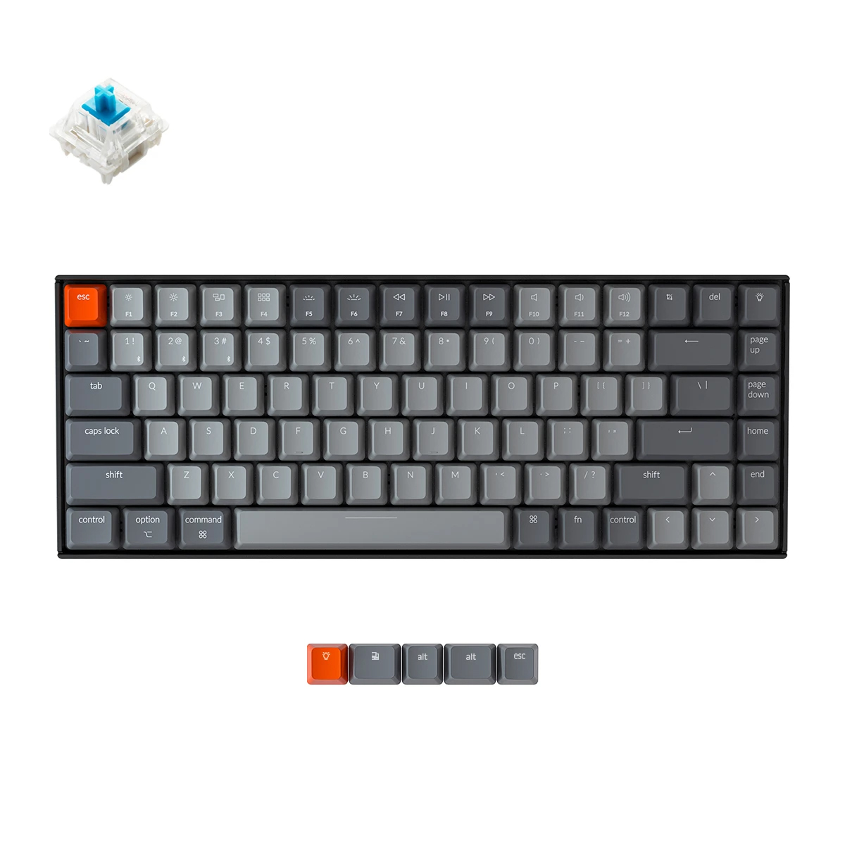 Bàn phím cơ Keychron K2 (Version 2)-Bluetooth Cho Văn Phòng Và Gaming, Hỗ Trợ Kết Nối 3 Thiết Bị Đa Hệ Điều Hành Mac/Win/iOS/Andriod - Switch Gateron Cơ - Có Đèn Nền - Pin Sạc 4000mAh - Hàng Chính Hãng