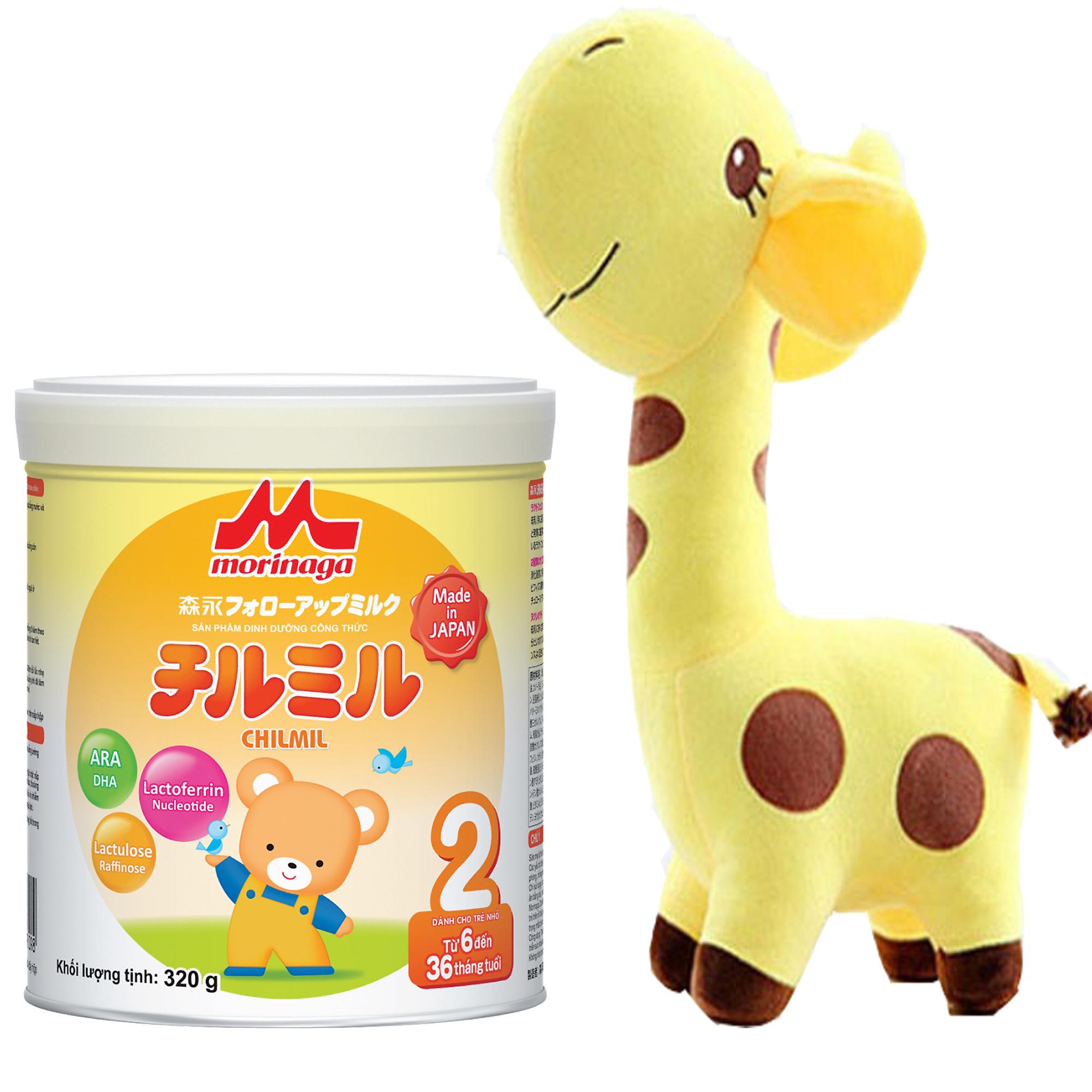 Combo Sữa Morinaga Số 2 Chilmil (320g) và thú bông hươu cao cổ