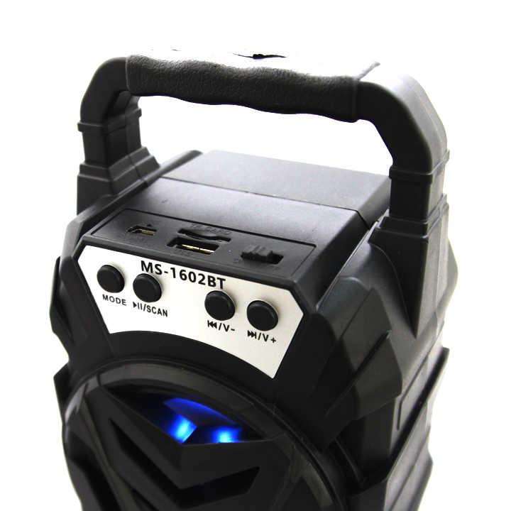 Loa Nghe Nhạc Nhỏ Gọn MS 1602BT dễ dàng phối ghép loa với thiết bị có bluetooth, trong phạm vi 10m, ngoài ra loa còn có thể phát nhạc qua thẻ nhớ TF, USB và nghe đài FM