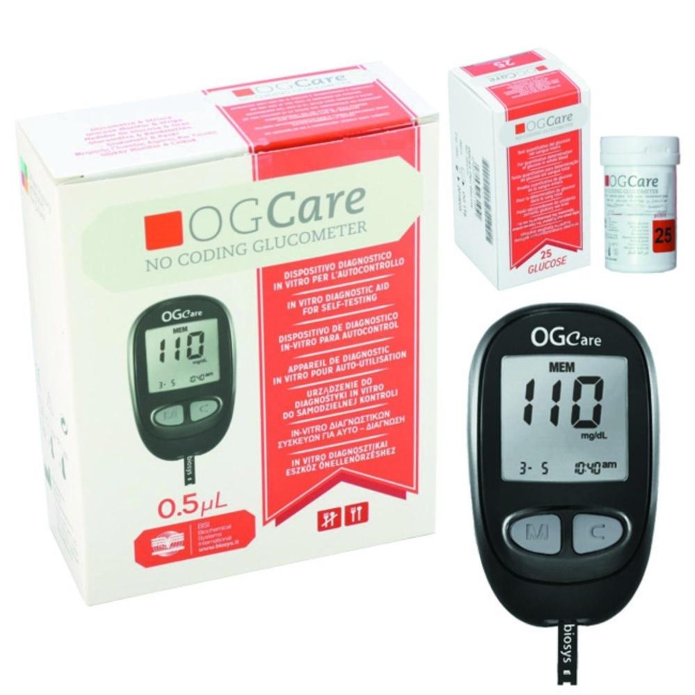 Máy đo đường huyết Ogcare chính hãng + Tặng hộp gồm 25 que thử + hộp gồm 100 kim lấy máu.