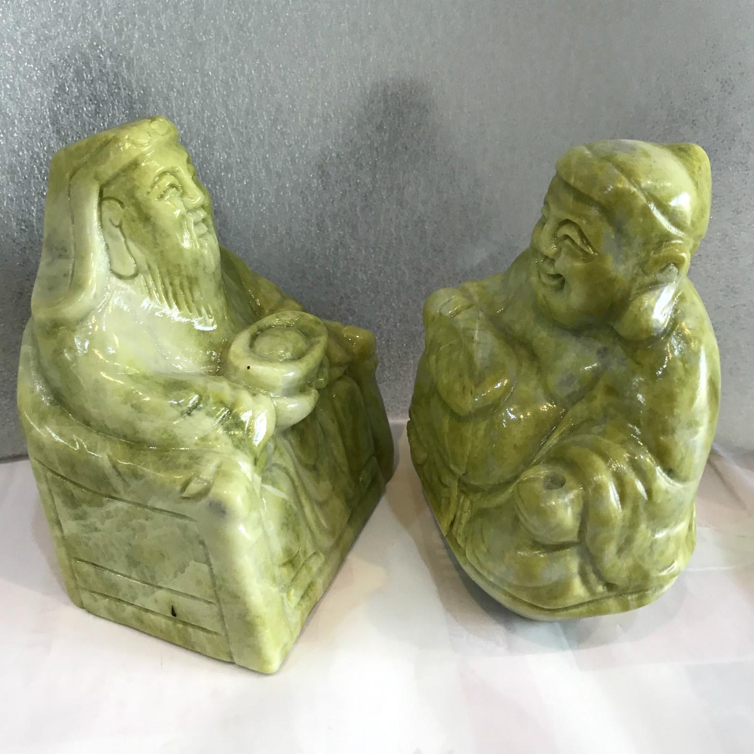 Tượng thần tài thổ địa đá tự nhiên xanh chất ngọc serpentine đá việt nam ( một cặp)
