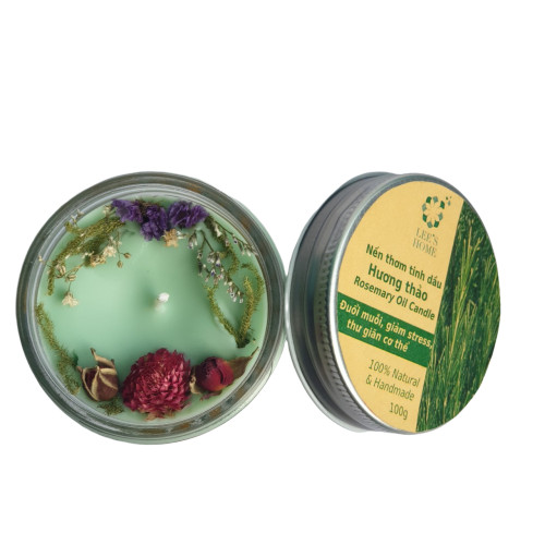 Nến thơm tinh dầu Hương thảo Lee's Home, giúp thư giãn, thơm phòng, khử mùi, Essential Oil Candle
