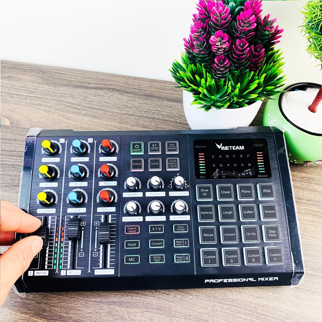 Sound Card  S8 VINETTEAM Hát Live Stream Thu Âm Chuyên Nghiệp Thế Hệ Mới Kết Nối Bluetooth ,Autotune Đẳng Cấp , giả giọng, pin sạc - 4170- Hàng Chính Hãng