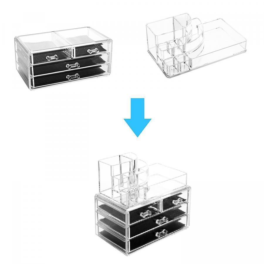 Khay đựng son mỹ phẩm, dụng cụ trang điểm, trang sức 4 ngăn 3 tầng cao cấp ORGANIZER DMCDC005