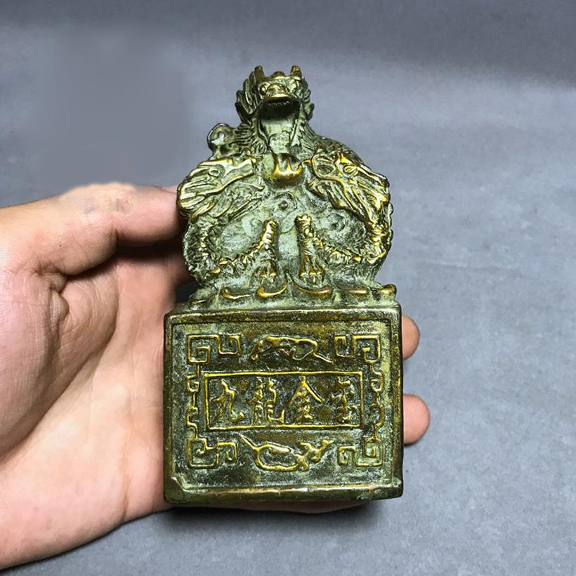 Vật phẩm cửu long kim ấn bằng đồng thau lên men xanh phong thủy Hồng Thắng