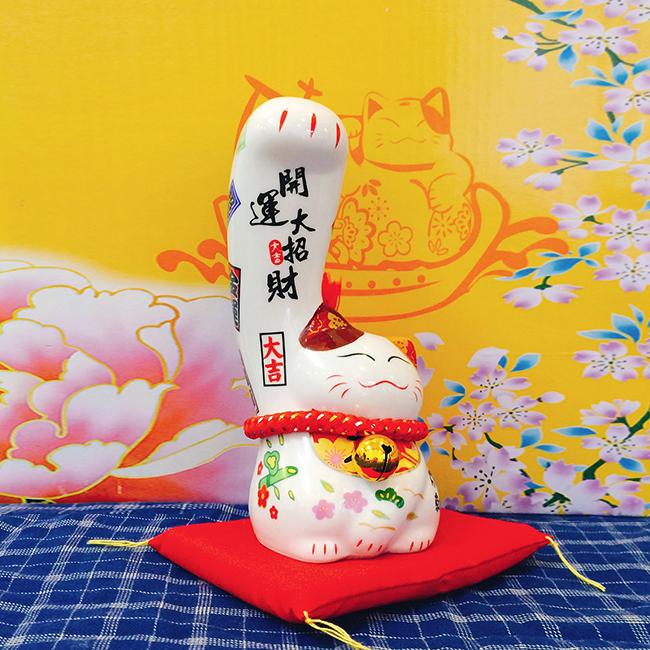 Mèo thần tài Nhật Bản giơ tay phải lớn Khai Vận Đại Chiêu Tài sw444-16cm