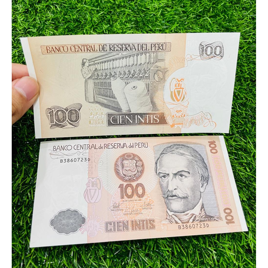 Tiền Peru 100 Intis xưa 1988, ở Nam Mỹ, mới 100% UNC, tặng túi nilon bảo quản The Merrick Mint