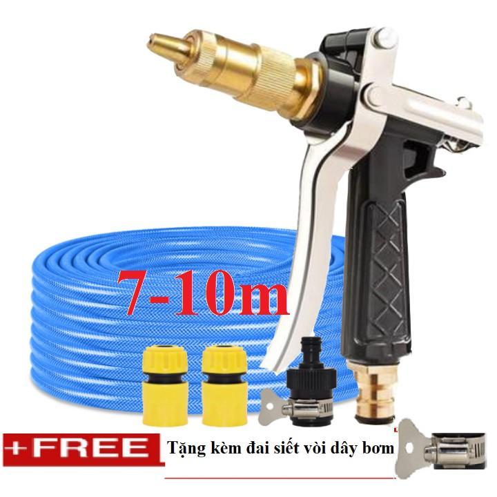 Bộ dây vòi xịt nước rửa xe, tưới cây đa năng, tăng áp 3 lần, loại 7m, 10m 206236 đầu đồng,cút,nối nhựa đen+ tặng đai