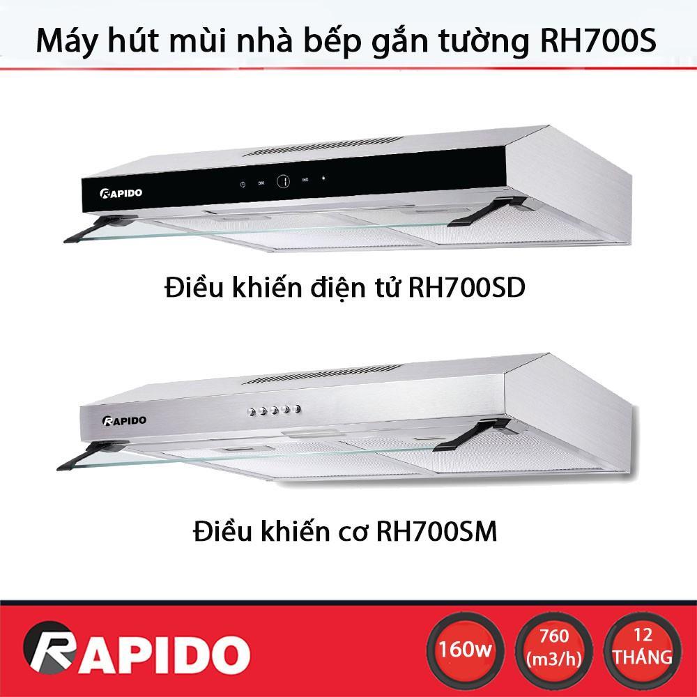 Máy hút mùi nhà bếp Rapido RH700S gắn tường, vỏ thép không gỉ, công suất 760 m³/h, lưới lọc dầu mỡ bằng nhôm 6 lớp - Hàng chính hãng