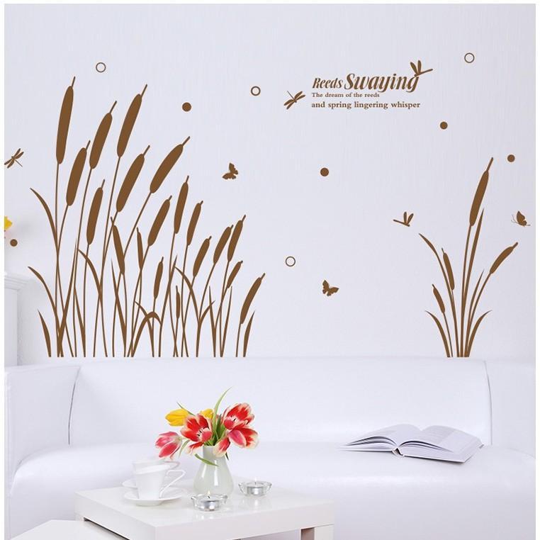 Decal dán tường những bông cỏ lau XL8150