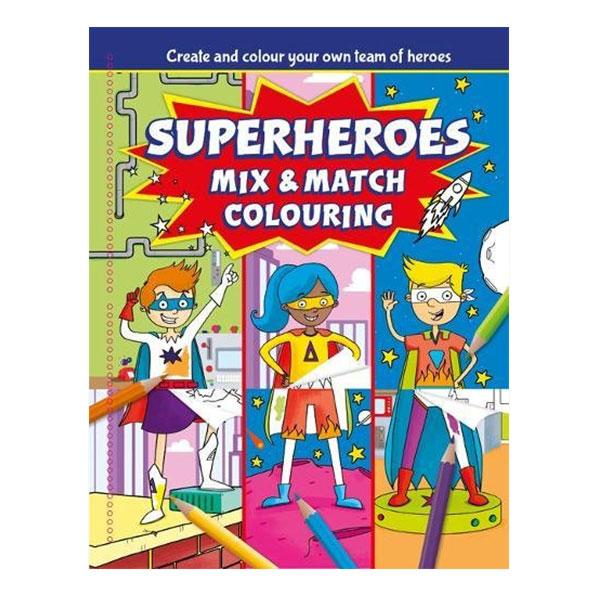 Sách tô màu Superheroes Mix and Match Colouring
