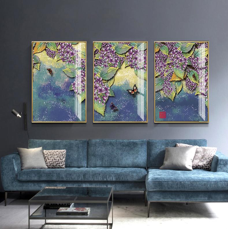 Tranh phong thuỷ Mica 3 bức Những chú bướm xinh trừu tượng (Tang Đố Mộc). Model: AZ3-0103