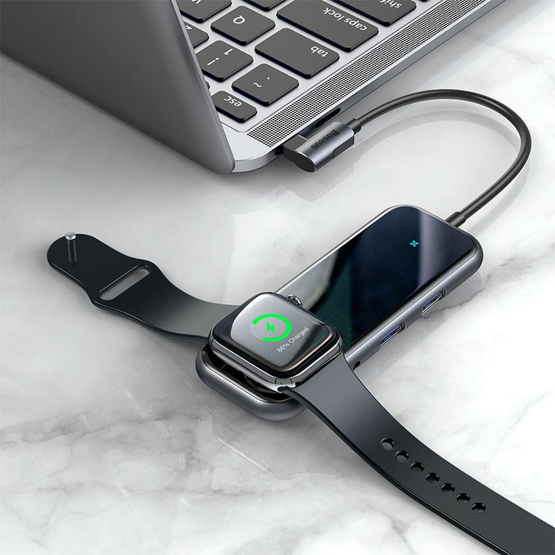 Hub chuyển đa năng tích hợp sạc Apple Watch Baseus Superlative Multifunctional 6 in 1 - Hàng chính hãng