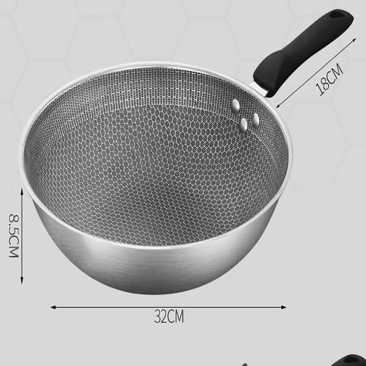 Chảo chống dính sâu lòng inox 304 đa năng, Chảo dùng cho bếp từ, bếp hồng ngoại và bếp ga size 32cm