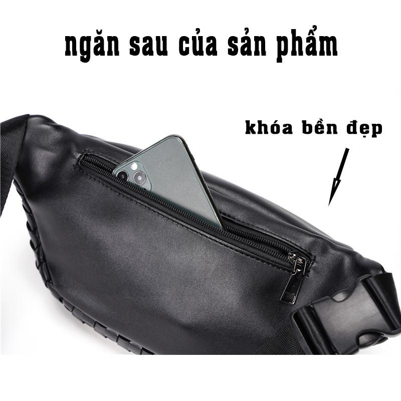 Túi Đeo Chéo Nam ETONWEAG Da PU Cao Cấp Đính Logo Đại Bàng Màu Đen Sang Trọng Khóa Khéo Hợp Kim Không Rỉ A06
