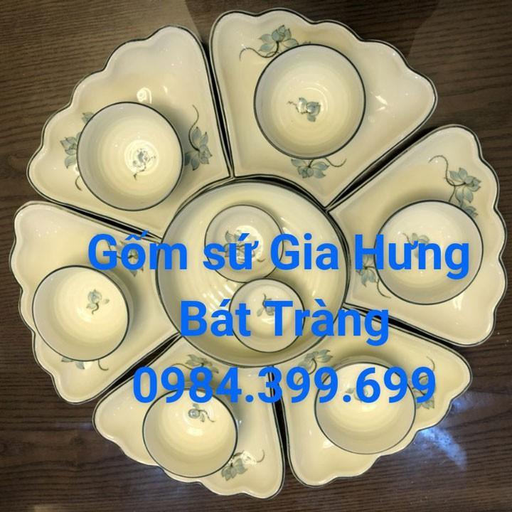 Bộ đĩa ăn cánh hoa gốm sứ Gia Hưng Bát Tràng