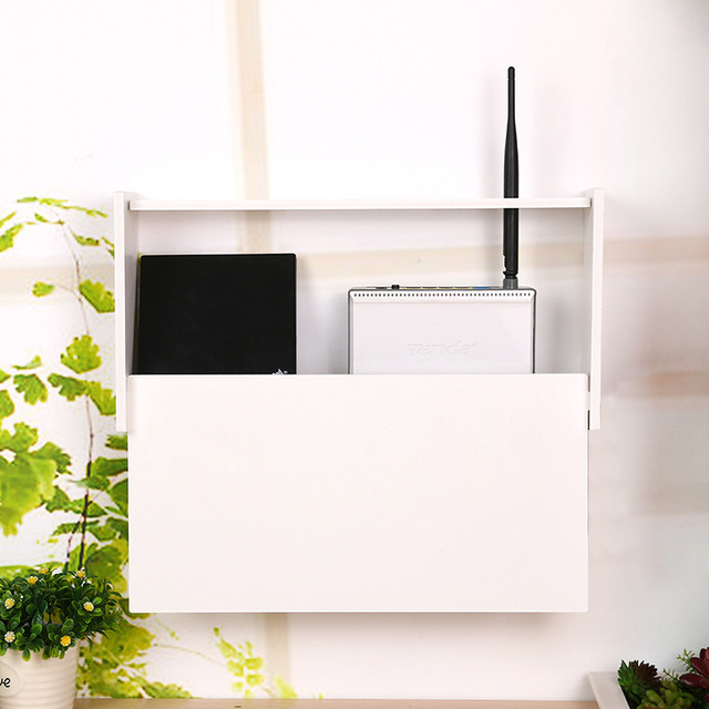 Kệ đựng modem wifi họa tiết tranh hồng hạc treo tường không khoan tặng kèm móc treo