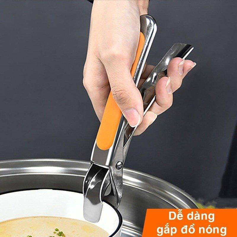 Kẹp gắp đồ nóng inox 304 MDT KNI, kẹp gắp với mút silicon chống trượt gắp chén dĩa nóng tiện lợi