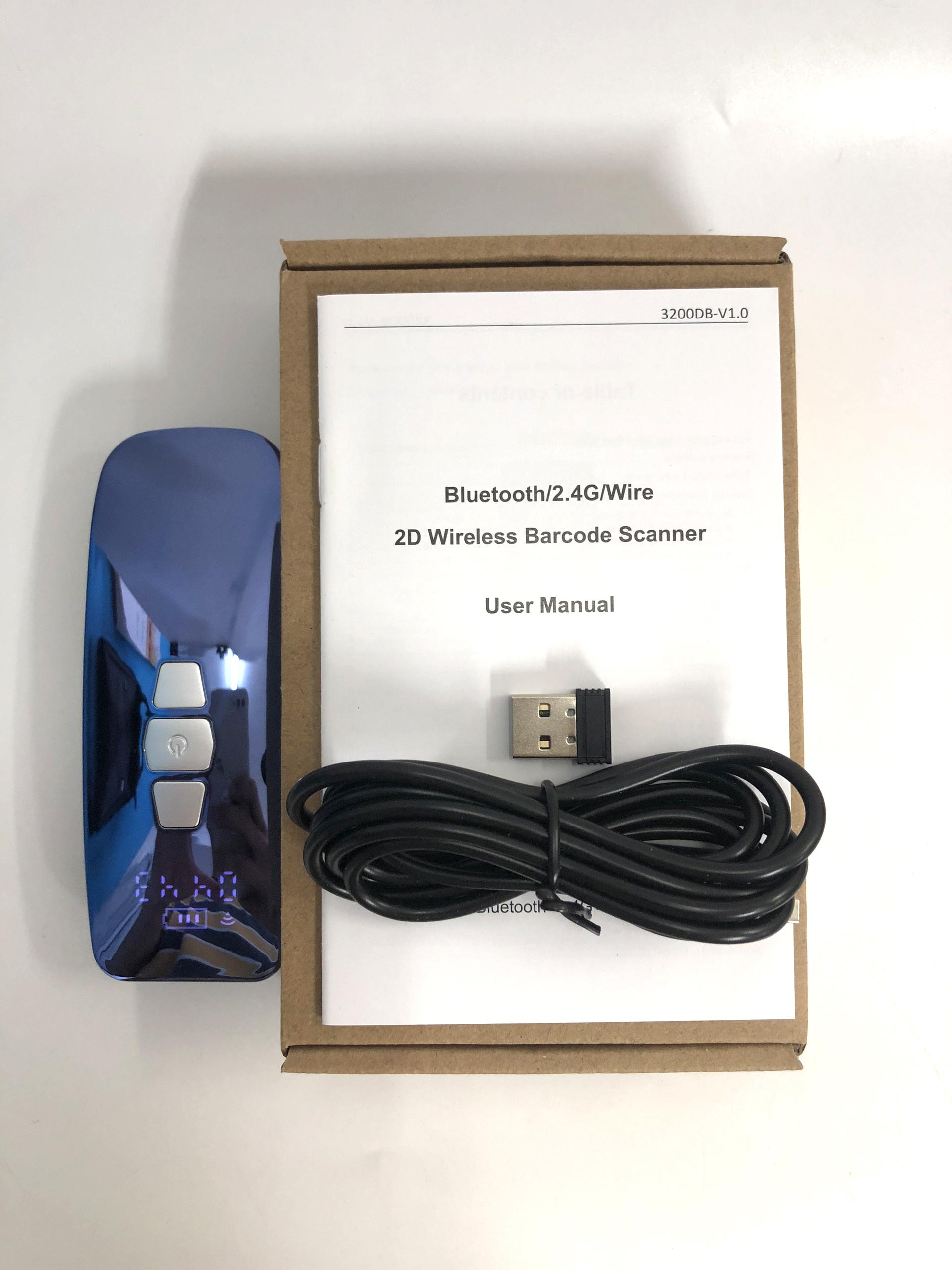 Máy quét mã vạch Mini nhỏ gọn YHDAA 3200DB 2D kết nối Bluetooth/ USB/ Có dây hỗ trợ quét mã Qrcode hiện thông tin thời gian quét dùng trên Điện thoại, Máy tính - Hàng Nhập Khẩu