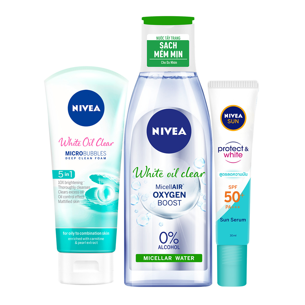 Bộ 3 Tinh Chất Chống Nắng NIVEA Dưỡng Trắng & Kiểm Soát Dầu SPF50+ PA+++ (30ml) - 86060 & Nước Tẩy Trang NIVEA White Oil Clear Kiểm Soát Nhờn Micellar Water (200ml) - 86609 & Sữa rửa mặt NIVEA White Oil Clear giúp trắng da sạch nhờn (100g) - 84951