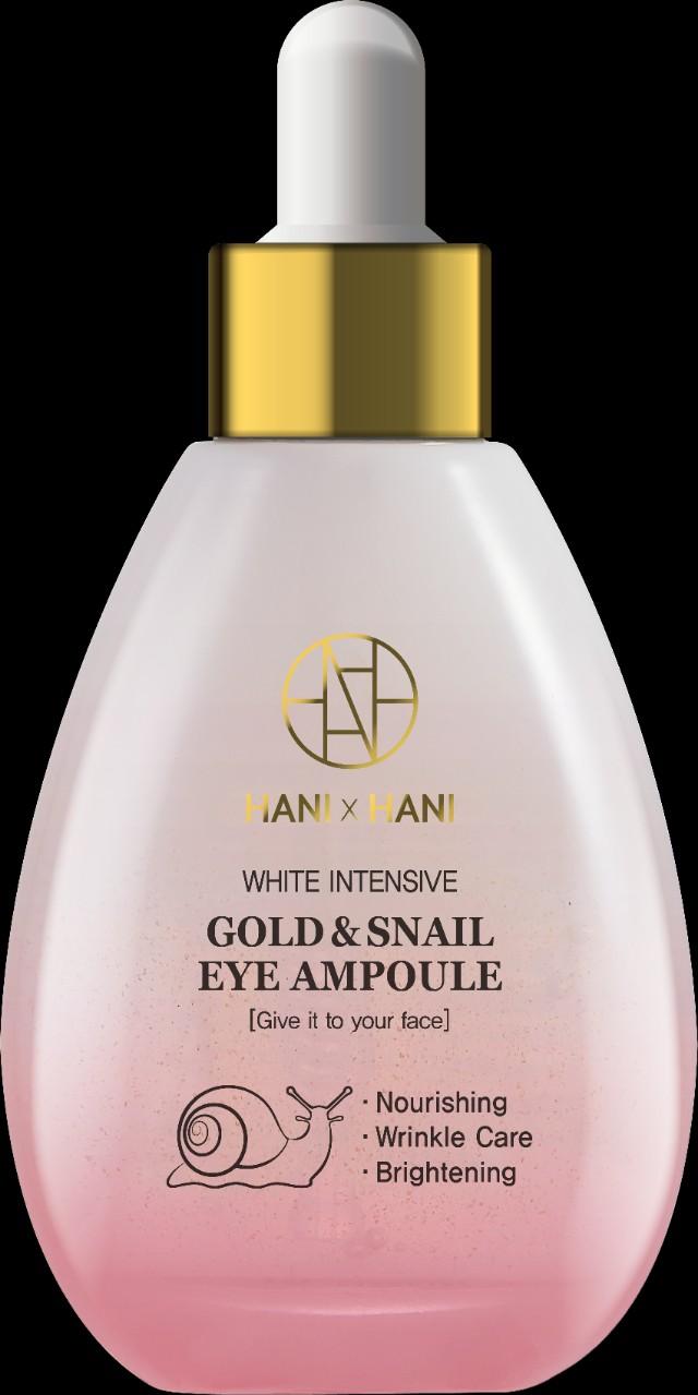 Ampoule Tinh chất Ốc Sên Làm Mờ Nếp Nhăn Vùng Mắt, Trắng Da mặt Hani x Hani 50G/ Hani x Hani White Intensive Gold Snail Eye Ampoule For Face