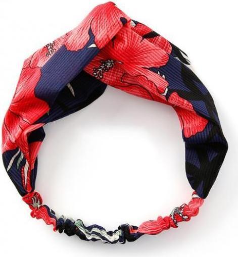 Băng đô turban vải họa tiết - Đỏ