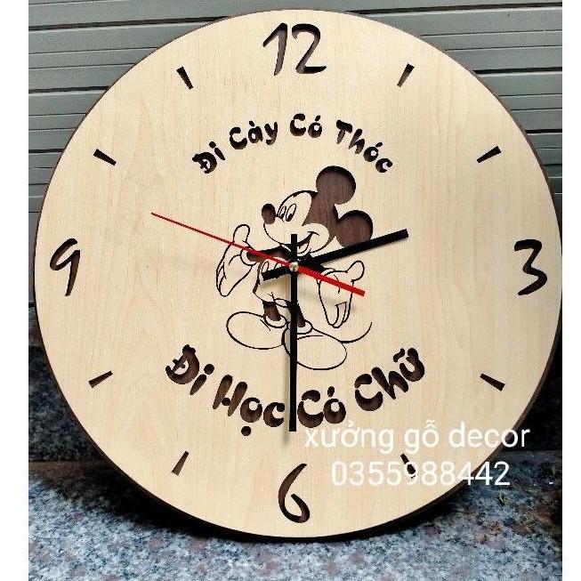 Đồng Hồ Treo Tường Bằng Gỗ Hình Chuột Mickey