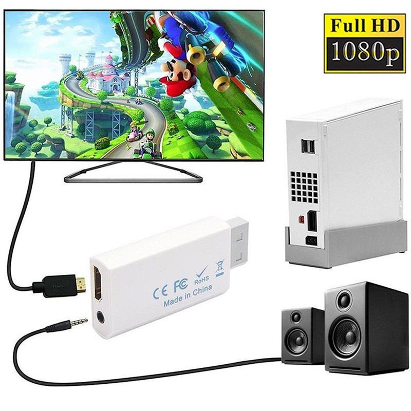 Bộ chuyển đổi Wii sang HDMI với Cáp HDMI tốc độ cao 5ft Bộ chuyển đổi Wii2HDMI Đầu ra Video & Âm thanh Jack 3,5mm, Hỗ trợ tất cả các chế độ hiển thị Wii 480P, 480I, NTSC