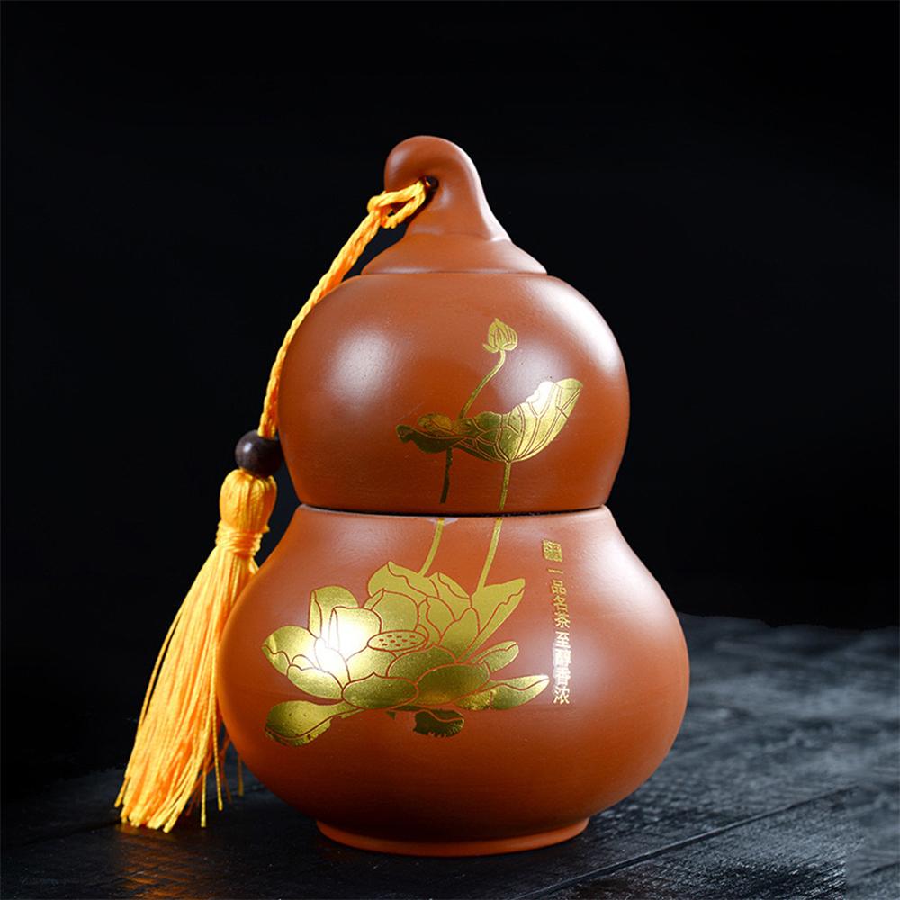 Bình đựng trà hồ lô hoa sen thiền trà thủy mặc gốm sứ phụ kiện bàn trà trà đạo
